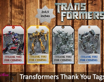 Transformers Thank You Tags, Printable, Transformers Party, Instant Download, Digital tags