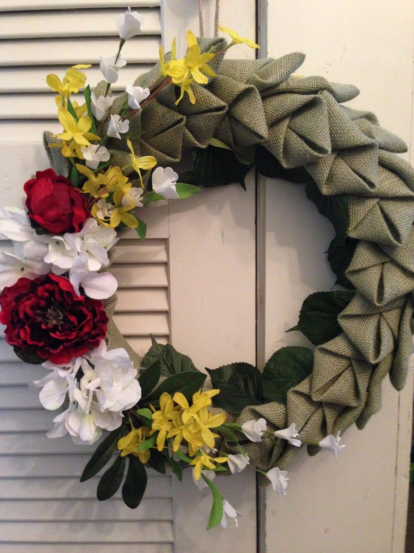 Folded fabric wreath rustic summer handmade burlap wreath clearance folded fabric wreath rustic summer handmade burlap wreath clearance sale silk floral flowers mightylinksfo