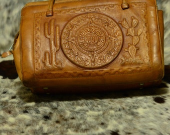 Vintage Hand Tooled Leather Hand Bag