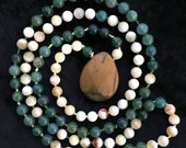 Moss Agate, Natural White...