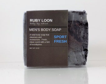 All-Natural Men's Body Soap with Activated Charcoal
