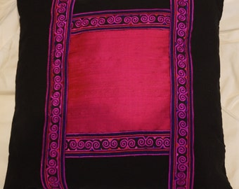 Pink Thai 2 series: cushion, 40 x 40 (16 x 16), Indian dupion silk, hot pink, thai fuchsia pink, cotton embroidered lace black.
