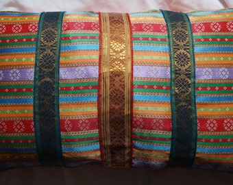 East 7 series: Cushion, 30 x 50 (12 x 20), striped fabric ethnic oriental, Indian stripes, orange fabric.