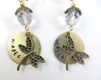 Hand stamped magic dragonfly earrings