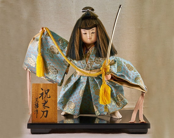 End of the Year Sale 25% OFF (PRESENT25) Japanese Vintage Doll of Young Samurai boy in kimono and with Tachi sword