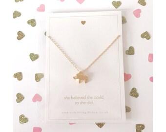 Lovely Little Elephant Necklace - Gold