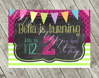 Pink and Lime Green Party Invite