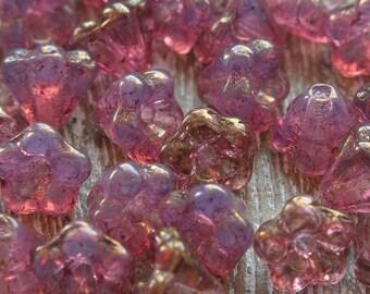 Czech Flower Beads, Czech Glass Beads, Flower Beads, Glass Flower Beads, Small Flowers, 6mm Beads, Purple Beads, Purple Gold Lustre, Pk 25
