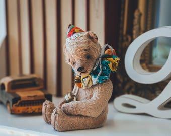 Teddy bear Clown Archie, OOAK teddy bear, Torture bear, Collectible toy, Vintage bear, Artist teddy bear, Exclusive present, Unique gift