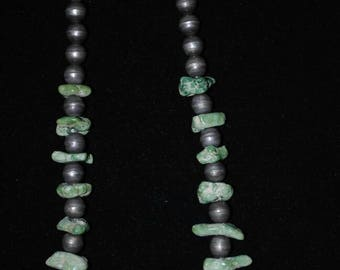 Sterling Silver Green Turquoise Nugget Necklace