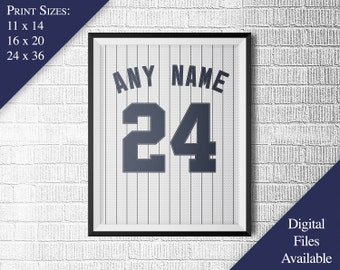 New York Yankees Poster - Personalized - Light Jersey Print - Any Name - Any Number - Realistic Material & Stitching - PRINTABLE WALL ART
