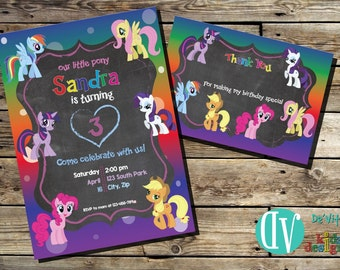 Little Pony Birthday Invitation  5x7 or 4x6 and FREE Thank You Card Printable 5x3.5