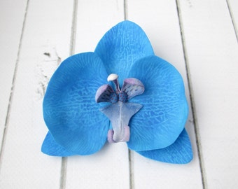 Dark Blue Orchid Hairpin - Prom Flower Hair Accessories - Flowers Hair Pin Decoration - Sapphire Orchid Hawaiian Hair - Indigo Hair Clasp