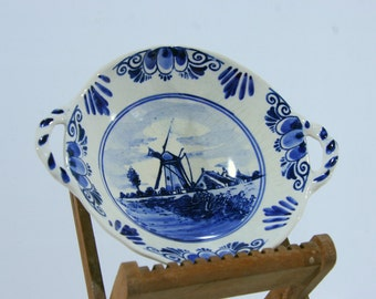 """Delft pottery dish 7""""1/2, 1911, Holland / blue and white delftware eared dish or bowl, Netherlands"""