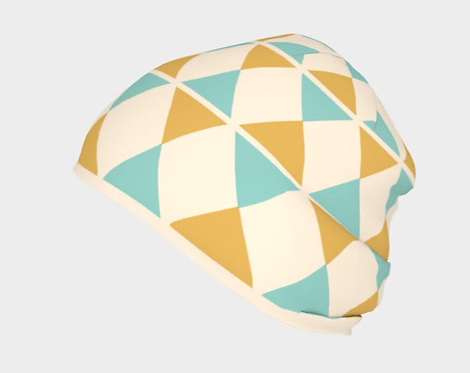 Harlequin Mint and Gold Geometric Slouchy Beanie Cap, Warm Slouchy Cap, Beanies, Adult and Kids Beanies, Winter Hats, Winter Caps