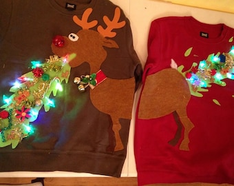 Ugly Christmas sweater, couple sweater, vommiting reindeer with battery operated lights - ladies and mens