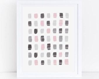 Watercolor Print, Pink Grey Abstract Art, Watercolor Print, Blush Grey Art, Pink Grey Nursery, Geometric Art Print, Pink Grey Wall Print