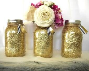 Glitter Mason Jar, Gold Wedding Centerpiece, Glitter Wedding Centerpiece, Gold Vase, Glitter Centerpiece, Glitter Wedding Decor, Baby Shower