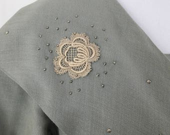 1930's Green-Gray Dress with Lace Embellishments & Tiny Silver Studs