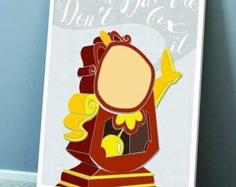 Beauty and the Beasts Cogsworth 'If it's not Baroque don't fix it' Print
