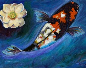 Original Acrylic Painting Koi and Lotus