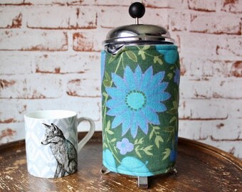 Retro Coffee Pot Cosy - Vintage Fabric Cafetiere Cover - 1960s Cafetiere Cosy - Flower Print Coffee Cosy - Vintage Coffee Gift -