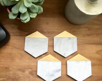 Hexagon Carrara Polished Marble Coasters with Geometric 18 Karat Gold Leafing