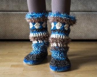 Mukluk slippers, fuzzy slippers, crochet moccasins, crochet slipper boots, women slipper boots, women long slippers
