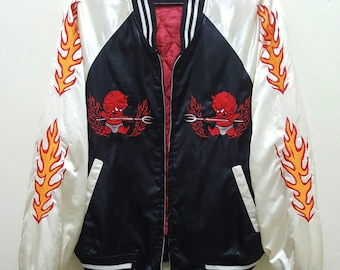 Sukajan Jacket Satin Vintage Rare Embroidered Red Hot Devils Flames Japan Yokosuka Varsity Souvenir Jacket