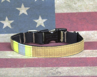 Firefighter Dog Collar with Metal Buckle and Real Turnout Material