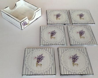 Decoupage coasters 6 Shabby Chic coasters wooden coasters with box drink coasters Decoupage Furniture set coasters vintage rustic lavender