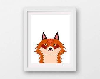 red fox head, cute fox art, printable fox art