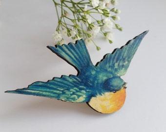 Large Flying Blue Bird Wooden Brooch