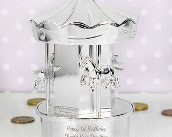 Silver Plated Personalised Piggy Bank Carousel Money Coin Bank Box