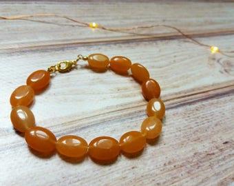 Handmade Orange Aventurine Bracelet Sacral Chakra GOLD PLATED