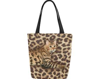 Bengal Cat Canvas Tote Bag Custom Bag