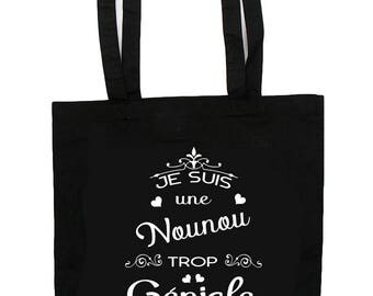 """Tote Bag """"I'm too great nanny"""" nanny gift personalized with name"""