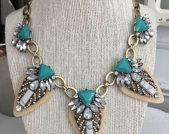 Turquoise Beige Deco Statement Necklace