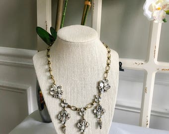 Crystal Pearl Bib Statement Necklace