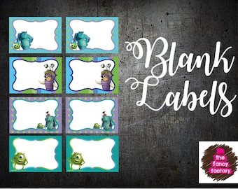 monsters inc. blank labels
