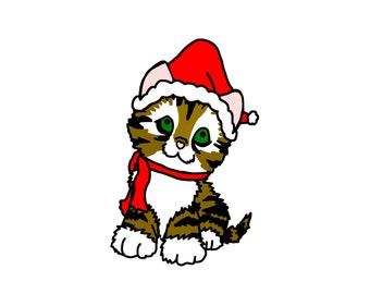 Christmas Kitten Clip Art