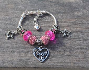 Sweet 16th Birthday European Bead Bracelet-Perfect for Sweet 16th Birthday Gift- Sweet 16th Birthday Bracelet