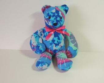Stuffed animal, Teddy Bear in blue tye dye