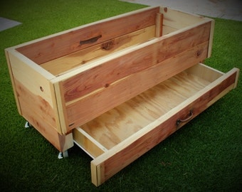 Rolling Redwood Planter with Drawer
