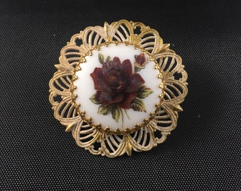Vintage Edwardian Style Hand Painted Rose Brooch