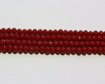 4x3mm Dark Red Opaque Faceted Crystal Glass Beads Rondelles 18 inch strand 130 Beads