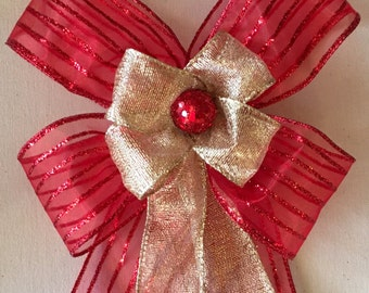 Gift Bow, Christmas Bow, Wreath Bow, Garland Bow, Christmas Decoration, Holiday Embellishment, Handmade Bow,