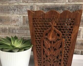 Handcarved Wooden Foldable Bin//Boho Wooden Bin//Foldabel Storage Bin//Foldable Wooden Waste Paper Basket//Indian Wooden Bin//Boho Planter