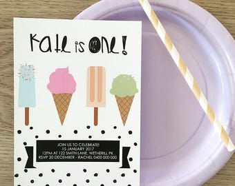 Ice Cream Birthday Girl Printable or Printed Invitation