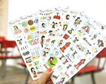 6pc My Story With Puppy Stickers,Label Sticker, Stationery Sticker, Scrapbooking Sticker, Planner Stickers, Decorative Stickers,Puppy,Korea